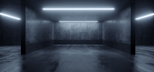 Car Parking Sci Fi Lightning Laser Led Grunge Modern Futuristic Cement Concrete Grunge Wide Huge Warehouse Garage Tunnel Room Underground 3D Rendering Fototapete