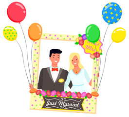 Photozone for just married couple vector, bride and groom posing behind composition for photo. Flat style characters smiling, frame with flowers and sign with text, mrs miss. Flourishing decor for pic