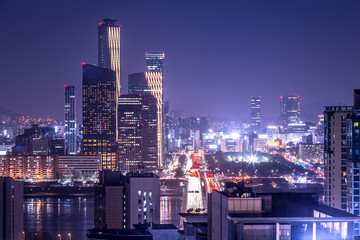seoul city and skyscraper, yeouido at night, south korea.