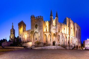 Wall Mural - Palace of the Popes, once fortress and palace, one of the largest and most important medieval Gothic buildings in Europe, at night, Avignon, France