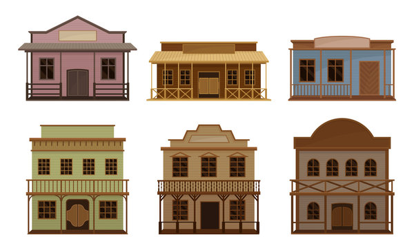 Western Wooden Saloon Bars and Buildings Vector Set