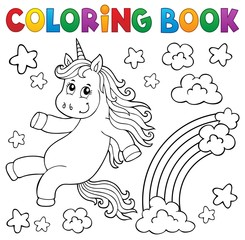 Photo sur Aluminium Enfants Coloring book cute unicorn topic 2