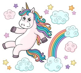 Foto auf AluDibond Für Kinder Cute unicorn topic image 4