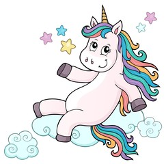 Foto auf AluDibond Für Kinder Cute unicorn topic image 7