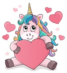 Photo sur Aluminium Enfants Valentine unicorn theme image 1