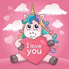 Photo sur Aluminium Enfants Valentine unicorn theme image 4