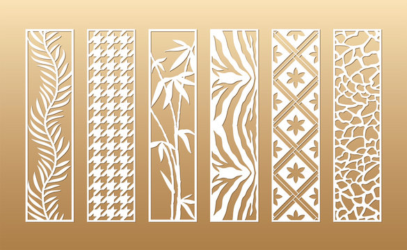 6 Laser cut vector panels (ratio 1:4). Cutout silhouette with animal skin, palm, bamboo, hounds tooth, flowers. The set is suitable for engraving, laser cutting wood, metal, stencil manufacturing.