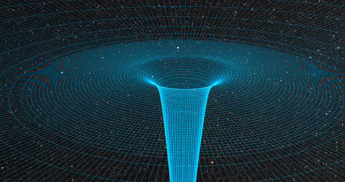 Ripple in space-time continuum displaying gravitational sock waves with galaxy 3d rendering