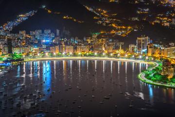 Fototapete - Botafogo and Guanabara bay in Rio de Janeiro, Brazil. Night cityscape of Rio de Janeiro
