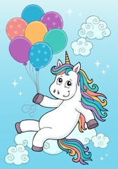 Fotobehang Voor kinderen Unicorn with balloons topic image 2
