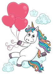 Fotobehang Voor kinderen Unicorn with balloons topic image 3