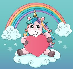 Photo sur Aluminium Enfants Valentine unicorn theme image 5