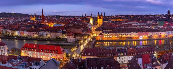 Aerial panoramic view of Old Town with cathedral, city hall and Alte Mainbrucke in Wurzburg, part...