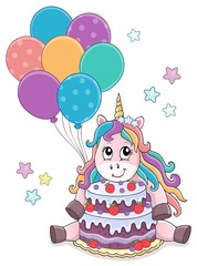 Poster Voor kinderen Unicorn with cake and balloons theme 1
