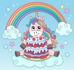 Photo sur Aluminium Enfants Unicorn with cake theme image 3