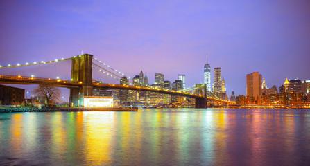 Printed kitchen splashbacks Brooklyn Bridge New York City skyline, the Brooklyn Bridge, reflection on the Hudson river. United States of America