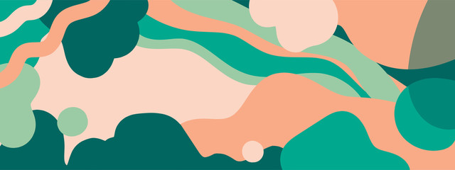 Horizontal abstract banner background in modern colors, in popular flat art style Fotomurales