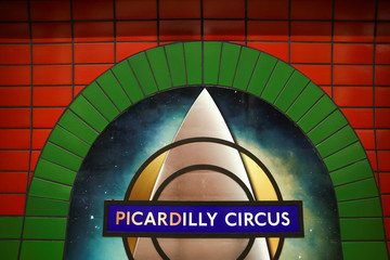 """A 'Picardilly' logo sits on the wall of the Piccadilly underground station after it was renamed ahead of the new Amazon Prime Video series premiere """"Star Trek: Picard"""" in London"""