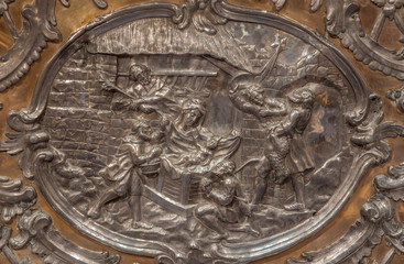TRNAVA, SLOVAKIA - OCTOBER 14, 2014: The metal relief of the Nativity on the altar in Virgin Mary chapel designed by A. Huetter (1739 – 1741) in St. Nicholas church.