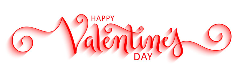 HAPPY VALENTINE'S DAY red vector brush calligraphy banner with spirals
