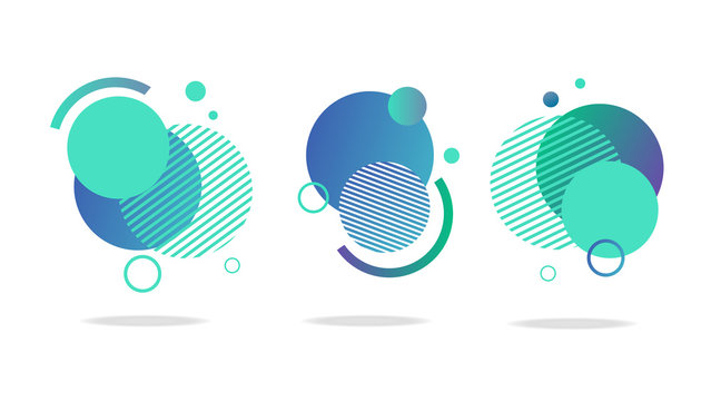 Set of round abstract badges, icons or shapes in mint, green and blue colors
