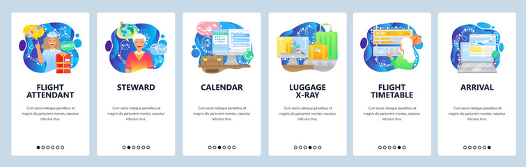 Air travel icons, flight attendant, timetable, arrival, luggage, security. Mobile app onboarding screens. Menu vector banner template for website and mobile development. Web site design illustration