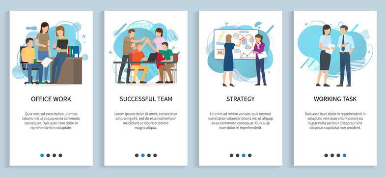 Working task vector, office work people thinking on business idea and solution for problem, startup team planning strategy and next steps. Website or app slider template, landing page flat style