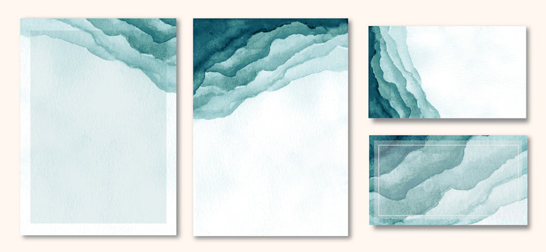 multipurpose card with abstract green watercolor background