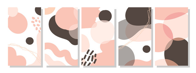 Set of vertical abstract backgrounds or card templates in modern colors, in popular art style Fototapete
