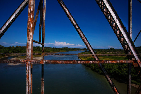 Cleared Bridge at the Border of Costa Rica and Panama in the Caribbean close to Sixaola and Changuinola in Panama