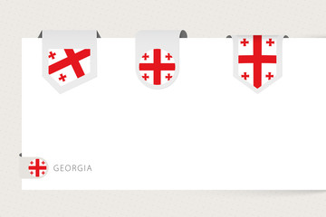 Wall Mural - Label flag collection of Georgia in different shape. Ribbon flag template of Georgia