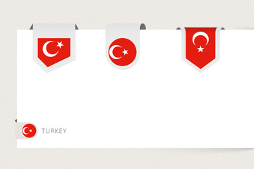 Wall Mural - Label flag collection of Turkey in different shape. Ribbon flag template of Turkey