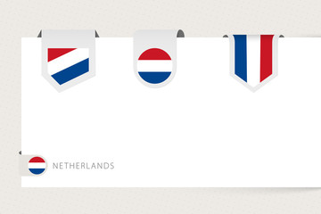 Wall Mural - Label flag collection of Netherlands in different shape. Ribbon flag template of Netherlands