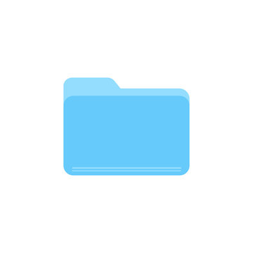 Blue folder flat vector icon isolated on a white background.