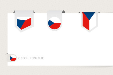 Wall Mural - Label flag collection of Czech Republic in different shape. Ribbon flag template of Czech Republic