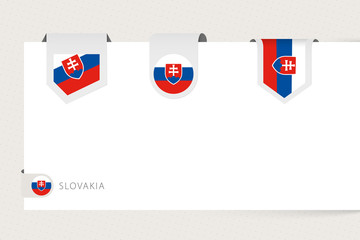 Wall Mural - Label flag collection of Slovakia in different shape. Ribbon flag template of Slovakia