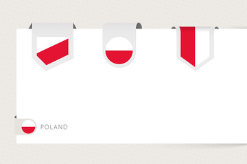 Wall Mural - Label flag collection of Poland in different shape. Ribbon flag template of Poland