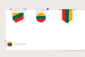 Wall Mural - Label flag collection of Lithuania in different shape. Ribbon flag template of Lithuania