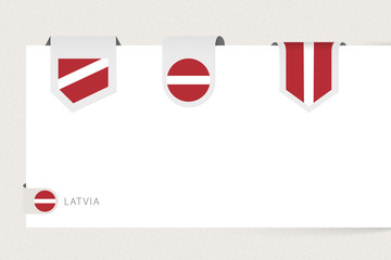 Wall Mural - Label flag collection of Latvia in different shape. Ribbon flag template of Latvia