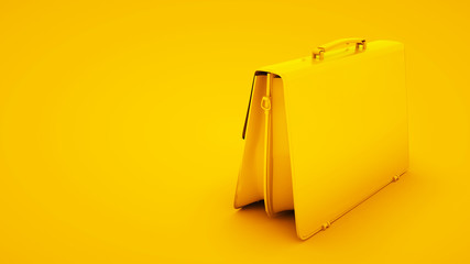 Leather briefcase on yellow background. Minimal idea concept, 3d illustration