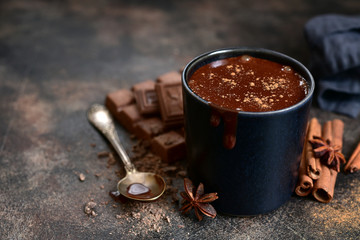 Delicious winter drink spicy hot chocolate with cinnamon and anise.