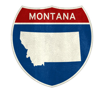 Montana State Interstate road sign