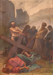COMO, ITALY - MAY 8, 2015: The painting - Fall of Jesus under the cross in church Santuario del Santissimo Crocifisso as the part of Via Crucis by Pnziano Loverini (1917).