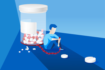 Vector of a sick man with painkiller addiction