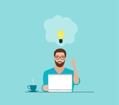 Vector of a man with idea working on laptop