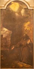 COMO, ITALY - MAY 11, 2015: The painting of Stigmatization of St. Francis of Assisi in church Chiesa di San Orsola.