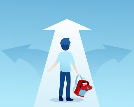 Vector of a young student at crossroads deciding which path to take