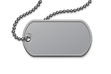 Metallic silver badge military with chain template. Dog tag on lace. Detailed element for army metal token. Engraved pendant for identification, blood type. Vector illustration.