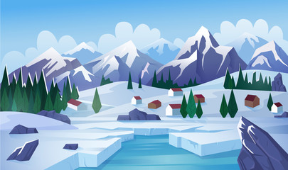 Winter lake flat vector illustration. Rural landscape, countryside, highland, mountain village, lake houses, small cottages. Winter day, cold weather, frozen pond, ice on lough surface