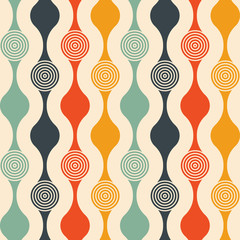Retro seamless pattern - colorful nostalgic background design with circles